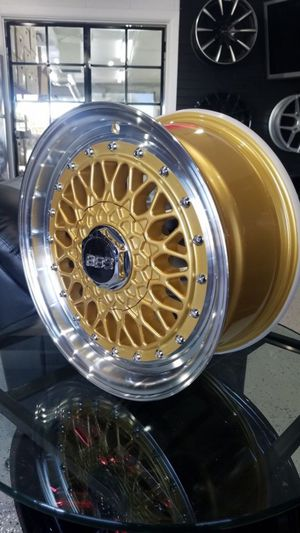 15x7 4x100/4x114 et20 gold BBS style wheels fits civic Honda Mazda miata nissa 4 lug rims tires wheels for Sale in Tempe, AZ