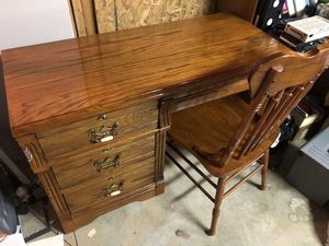 Wooden desk and chair for Sale in Acworth, GA
