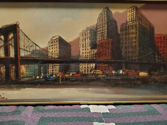 Brooklyn Bridge Vintage Oil Painting 25 by 13 for Sale in Clifton Heights,  PA