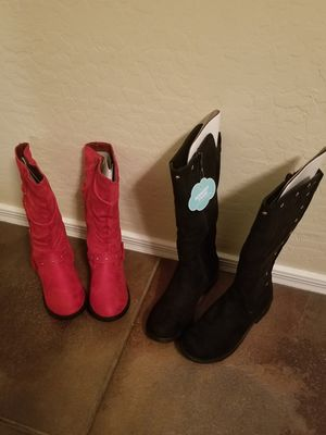 Girls size 2 brand new boots 2 pairs for Sale in Phoenix, AZ