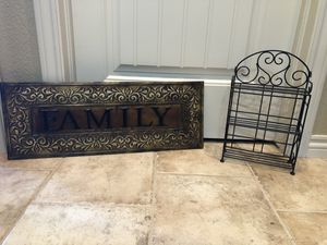 Metal shelves - p/u Monument - only metal family sign left for Sale in Monument, CO