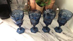4 Goblets Blue Glass for Sale in La Vergne, TN
