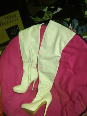 Beige man-made leather thigh high heeled boots for Sale in Cedar Hill, MO