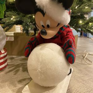 Mickey mouse Disney Animated Christmas Figurine rolling Snowball for Sale in Tempe, AZ