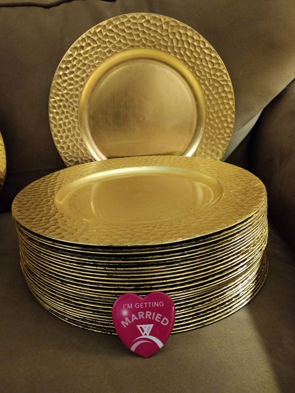 125 Gold Hand Hammered Charger Plates & 10 Matching Lanterns