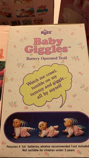 Baby giggles in box by Russ battery operated troll baby from 1990 for Sale in Wimauma, FL