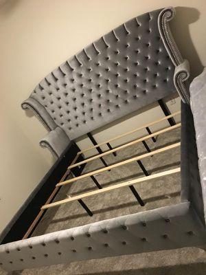 King bed frame gray velvet for Sale in Houston, TX