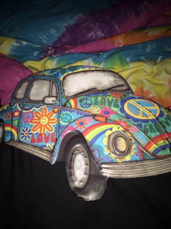 a colorful metal car artwork