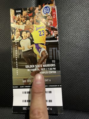 Lakers ve warriors 10/14/19 for Sale in Los Angeles, CA