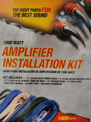 Amp kit : Raptor 8 gauge car amplifier kit ( 17 ft power,rca jack,turn on wire 20a fuse holder ) for Sale in Bell Gardens, CA