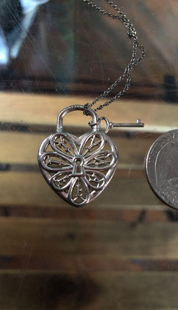 Tiffany & Co / Silver filigree Heart Key Hole Necklace pendant charm
