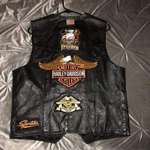 Black leather lined biker vest with patches for Sale in San Jose, CA