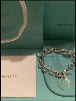 Tiffany & Co Blue Enamel Heart Tag Bracelet for Sale in Murrieta,  CA