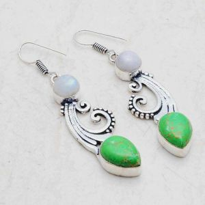 Green Turquoise and Moonstone 1.9 inch 925 earrings for Sale in San Antonio, TX