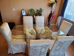 Glass Dining Table with White Rock Bases for Sale in Glendale, AZ