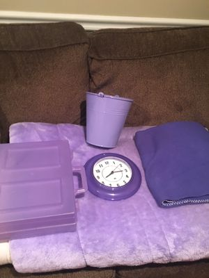 Purple lot faux fur twin comforter, clock, blanket and storage containers for Sale in Burlington, MA