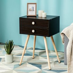 Mid Century Modern 2 Drawers Nightstand in Coffee Retail 75.95 My price 50.00 for Sale in Fontana,  CA