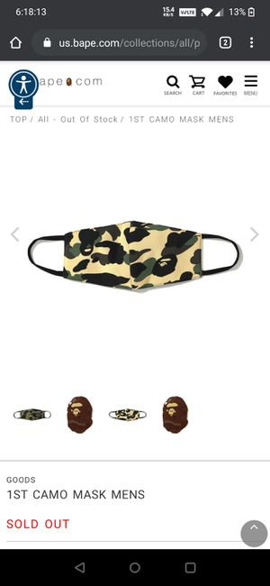 DS Brand New BAPE BATHING APE Full 1st Camo Face Mask yellow for Sale in MONTGOMRY VLG, MD