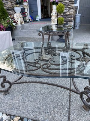 Wrought Iron and Beveled Thick Glass Coffee Table and Side / End Table Set for Sale in Kent, WA