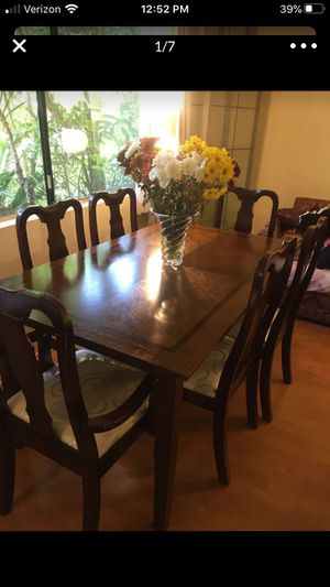 Wooden dining set - table with 6 matching chairs✨✨ for Sale in Glendale, CA