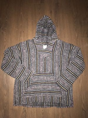 Frank's Textiles Mexican Poncho Hoodie Rug Striped Size Small Large for Sale in Scottsdale, AZ