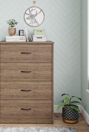 New!! Dresser, chest, wardrobe, 4 drawer dresser, storage unit, organizer, bedroom furniture , rustic oak ( damage on corner) for Sale in Phoenix, AZ