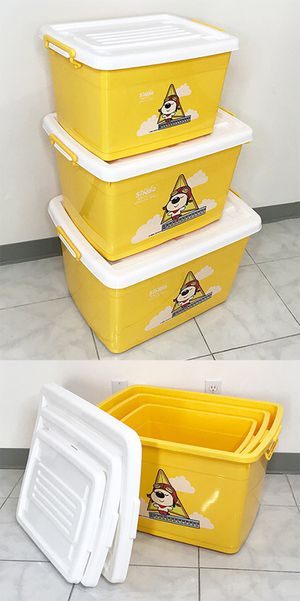 New in box $20 (Pack of 3) Large Plastic Storage Container with Wheels, Sizes: 38gal, 25gal, 16gal for Sale in Santa Fe Springs, CA
