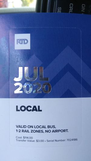 July monthly buss pass for Sale in Denver, CO