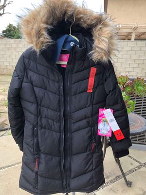 Weatherproof Girls Long Parka Jacket with Removable Fur, Size 12, Black for Sale in Anaheim, CA