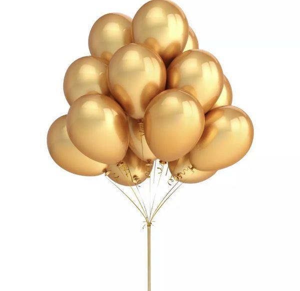 One dozen Gold Metallic balloons with helium