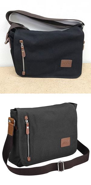 "(NEW) $20 Men Women 14"" Vintage Canvas Cross Body Schoolbag Satchel Shoulder Messenger Bag (Black) for Sale in Whittier, CA"