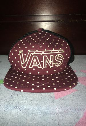 White Polkadot burgundy vans unisex hat. for Sale in Lynwood, CA