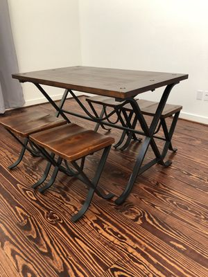 Wooden Table and 4 Stools for Sale in Houston, TX