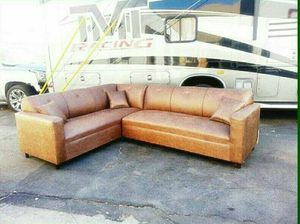 NEW 7X9FT CAMEL LEATHER SECTIONAL COUCHES for Sale in San Jacinto, CA
