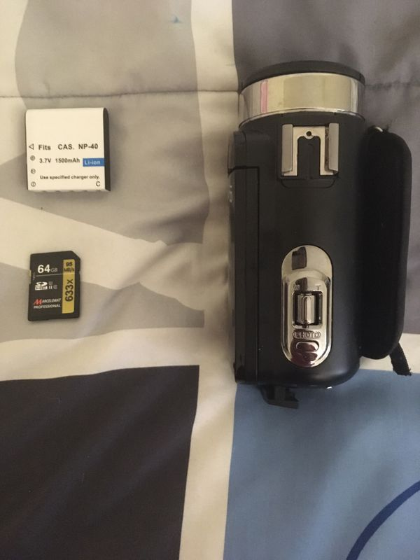 Camera with battery and SD card