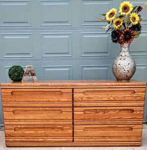 Sturdy wooden, 6 drawer dresser on gliders for Sale in Arvada, CO