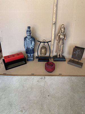 (6) Piece Asian Art Decor-Statues and Candle Holders. All 6 items for $35 for Sale in San Diego, CA