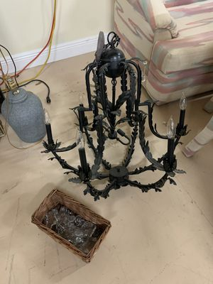 Black iron chandelier with crystals for Sale in Delray Beach, FL