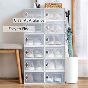 4 pack storage shoe box stackable container clear closet shelf organizer for Sale in Arcadia, CA