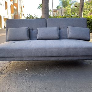 Mid-Century Modern Grey Sleeper Sofa with Bamboo Legs & Reversible Side Arm for Sale in San Diego, CA