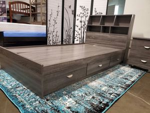 TWIN SIZE Storage Bed Frame with Bookcase Headboard for Sale in Garden Grove, CA