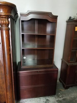 Two drawer cabinet with bookshelf hutch $80 (good condition) for Sale in Houston, TX
