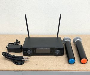 (New in box) $45 Audio 2 Channel Receiver UHF w/ 2 Handheld 100m Wireless Microphone LCD Display for Sale in Whittier, CA