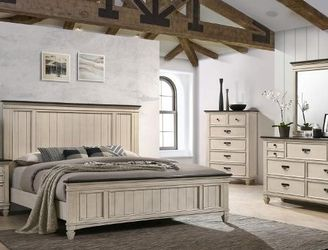 Sawyer Antique White/Brown Panel Bedroom Set for Sale in Waco,  TX