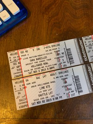 See Sara Bareilles @ the Hollywood Bowl 11/2 for Sale in Long Beach, CA