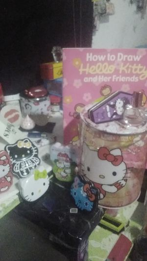 HELLO KITTY storage tins 6 of them Hello Kitty bucket and parfume with How to Draw Hello Kitty for Sale in Anaheim, CA