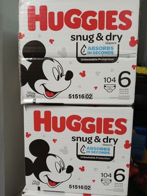 Huggies snug dry size 6/104 diapers $37 a box for Sale in Gardena, CA