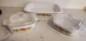 "Set of 3 vintage pyrex corelle ware ""spice of life"" dishes for Sale in Chesterton, IN"