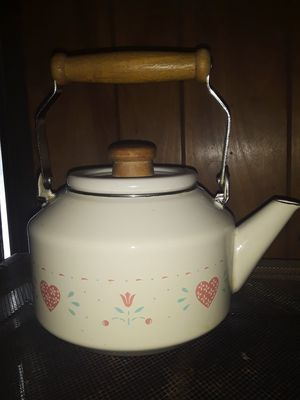 Forever Yours Enamel Lincoware Tea Pot Corelle Corning and milk pitcher for Sale in Elkins, WV
