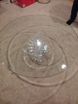 Glass top coffee table, acrylic base 3' across for Sale in Palatine, IL
